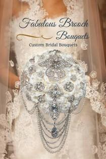 wedding photo - Brooch Bouquet, Cascading Brooch Bouquets, Elegant Brooch Bouquets, Ready To Ship, Deposit 150.00, Full Price 425.00 and up