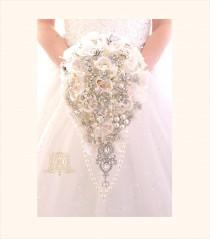 wedding photo - Off white, ivory, touch of pink BROOCH BOUQUET. Silver jeweled silk roses flowers teardrop cascading broach bouquet. Pearls bling wedding