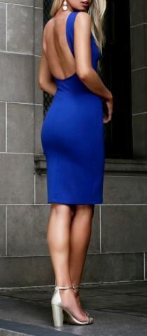 wedding photo - Like A Lady Royal Blue Backless Midi Dress