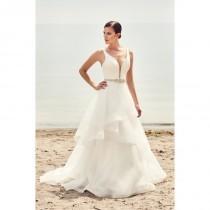 wedding photo - Mikaella Spring/Summer 2017 2112 V-Neck Organza Ball Gown Sleeveless with Sash Chapel Train Simple Ivory Bridal Dress - Top Design Dress Online Shop