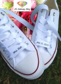 wedding photo - Custom #Wedding #Converse Ribbon Laces Satin White, #engagement #gift, #Couples Gift, #Anniversary Gift, #weddingideas, by #NoOrdinaryBling