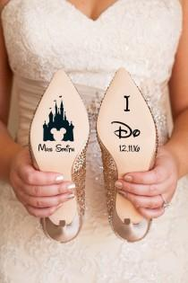 wedding photo - Personalised Disney Wedding Shoe Vinyl Sticker Decal With Name & Date Decorations Bridal shoe Bridesmaid I Do Etc
