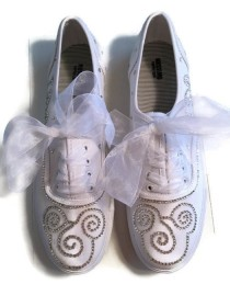wedding photo - Disney Wedding Shoes Sneakers Crystal Rhinestones Mickey Mouse