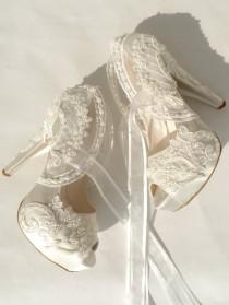wedding photo - Wedding Shoes - Ivory Embroidered Lace Bridal Shoes
