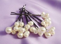 wedding photo - Set Of 5 Bridal Swarovski Pearls Bobby Pins In Silver