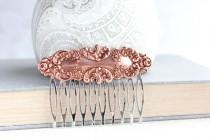 wedding photo - Floral Hair Comb Copper Rose Gold Filigree Lace Design Vintage Style Blush Wedding Hair Piece Pink Copper Bridal Hairpiece Silver Comb