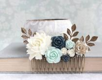 wedding photo - Floral Hair Comb Bridal Hair Piece Mint and Navy Wedding Ivory Cream Rose Comb Vintage Inspired Bridesmaids Gift Flowers For Hair Gold Rose