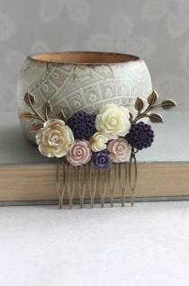 wedding photo - Purple Flower Hair Comb Gold Rose Blush Pink Dahlia Hair Accessories Floral Bridal Hair Comb Bridesmaids Gift Purple Wedding Chrysanthemum