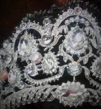 wedding photo - Queen Bridal Crown/Bridal Crystal Royal Diadem Swarovski/ 18k White Gold Princess Tiara blush fresh water pearl Austrian Cristal