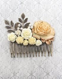 wedding photo - Big Bridal Hair Comb Large Ivory Cream Rose Wedding Accessories Floral Collage Shabby Country Antique Gold Brass Leaves Pearls Hair Piece
