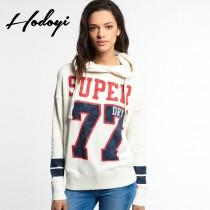 wedding photo - Oversized Vogue Student Style Sport Style Printed Alphabet Casual Long Sleeves Top Hoodie - Bonny YZOZO Boutique Store