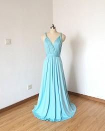 wedding photo - Tiffany Blue Spandex Long Convertible Bridesmaid Dress