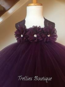 wedding photo - Plum Eggplant Flower Girl Satin Lace Tutu Dress, Wedding Dress, Baby Girl, Toddler, Girls