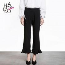 wedding photo - Must-have Office Wear Simple Frilled One Color Summer Casual Trouser - Bonny YZOZO Boutique Store
