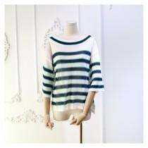 wedding photo - Oversized Scoop Neck 1/2 Sleeves Stripped Top Knitted Sweater - beenono.com