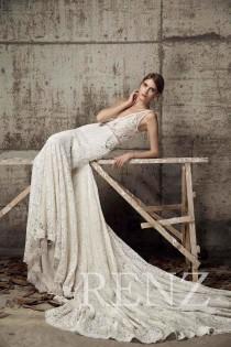 wedding photo - Wedding Dress Off White Lace Deep V Neck Bridal Dress,Illusion Lace Long Prom Dress with Train,Sexy Mermaid Evening Dress Full Length(HW326)