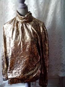 wedding photo - Vintage  80 s Golden New Wave Disco Glam Blouse /Top/ New Year's Eve blouse