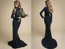 wedding photo - SALE! ANADA / dark blue dress, evening dress with sleeves, dark wedding dress, boho bridesmaid dress long bridesmaid dress long mermaid dres