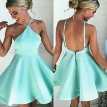 wedding photo - Simple Mint Halter Homecoming Dress,Backless Stain Short Prom Dress HCD98