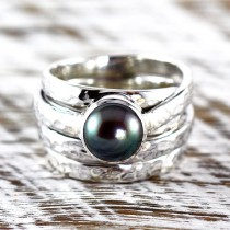 wedding photo - Black Pearl Ring Hammered 925 Sterling Silver Finish Womens Custom Engraved