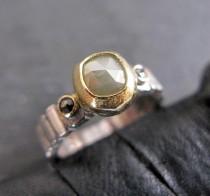 wedding photo - Rose Cut Diamond Ring Size 6 3/4 Black Diamond Ring Unique Engagement Ring Gray Diamond Modern Artisan Silver Diamond Engagement Anniversary