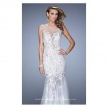 wedding photo - White Beaded Lace Gown by Gigi Designs by La Femme - Color Your Classy Wardrobe