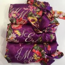 wedding photo - Customized Bridesmaid Robes, Silk Wedding Robes, Get Ready Robe, Bridal Bridesmaid Gifts, Bridal Floral Satin Robes, Satin Silk Kimono