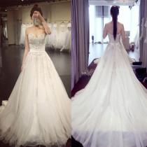 wedding photo - Vintage Princess Strapless Sweetheart Lace Beads Large Chiffon Train Ball Gown Wedding Dresses. WD0262