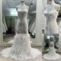 wedding photo - Affordable High Neck Sleeves Mermaid Open Back Lace Charming Long Wedding Dress, WG632