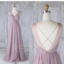 wedding photo - Bridesmaid Dress Dark Mauve Tulle V Neck Illusion Lace Wedding Dress,Open Back Long Prom Dress,A Line Criss Cross Back Maxi Dress (LS349)
