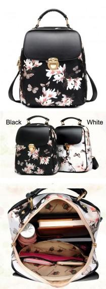 wedding photo - Fresh Girl Butterfly Flower School Bag Casual Backpack