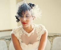 wedding photo - Wedding Hair Comb, Ivory Hair Clip,  Bridal Veil,  Bridal Wedding Set,  Feather Hair Clip,  Ivory Wedding Veil, Feather Fascinator, Combs