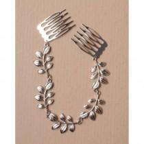 wedding photo - silver hair chain, leaf hair chain, wedding head dress, prom hair piece, comb hair chain, hair decoration,hair jewellery, bridal hairpiece