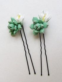 wedding photo - Succulent hair pins. Bridal succulent hair pins. Bridal hair accessories. Light sage green succulent, real touch succulent.