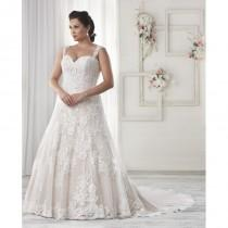 wedding photo - Bonny Bridal 2017 Lace Champagne Appliques Fall Chapel Train Plus Size Straps Aline Sleeveless Bridal Dress - Fantastic Wedding Dresses
