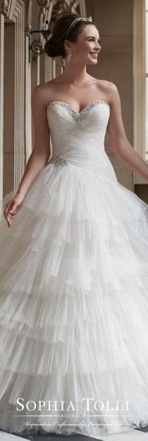 wedding photo - Strapless Ruffled Tulle Ball Gown Wedding Dress - Sophia Tolli Y21760