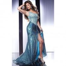 wedding photo - Fuchsia Laser Panoply 14569 - Crystals High Slit Sequin Dress - Customize Your Prom Dress