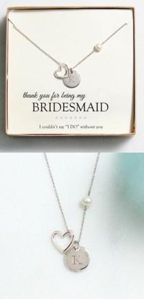 wedding photo - Bridesmaid Initial Necklace