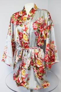 wedding photo - Floral kimono robe, Silk Flower Bridesmaid robes, Satin wedding robes, Getting ready robe, Underwear bridal gifts