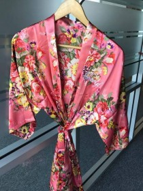 wedding photo - Bridal Floral Satin Robes, Satin Wedding robes, Get ready robe, Silk bridesmaid Lingerie, Coral bridesmaid robes