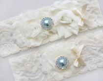 wedding photo - CARISSA - Light Blue Pearl And Chiffon Roses Bridal Garter Set, Wedding Stretch Lace Garter, Pearl Rhinestone Bridal Garters, Something Blue