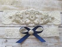 wedding photo - SALE - Wedding Garter, Bridal Garter, Garter Set - Crystal Rhinestone & Pearls - Style G8001NV