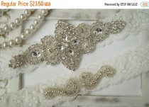 wedding photo - 20% SALE Wedding Garter, Bridal Garter Set - Ivory Lace Garter, Keepsake Garter, Toss Garter, Rustic Wedding - Style 100A