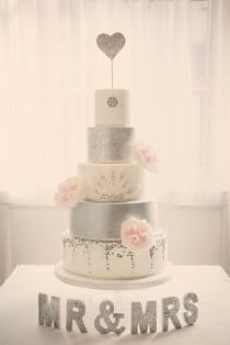 wedding photo - Silver And White Cake