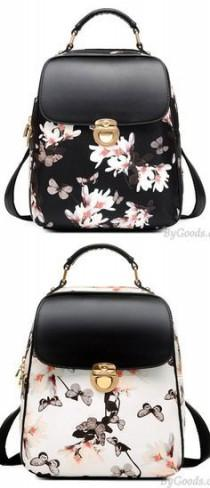wedding photo - Fresh Girl Butterfly Flower School Bag Casual Backpack Only $33.99
