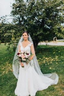 wedding photo - Chapel length Wedding Bridal Veil 90 inches white, ivory, Wedding veil Long bridal Veil chapel length veil bridal veil cut edge veil