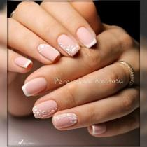 wedding photo - Matte French Nails