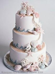 wedding photo - Beach Wedding Cake