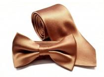 wedding photo - Copper Tie Wedding Necktie Bowtie or Pocket Square Men's Copper Gold Brown Regular Slim 2.75 Inch Groomsmen Best Man Father of the Bride