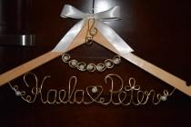 "wedding photo - Personalized Bridal Hanger with ""PEARL NECKLACE "" 1 Line of Text, Custom bridal hanger,Wedding hanger,Pearls hanger,Bridal gift"